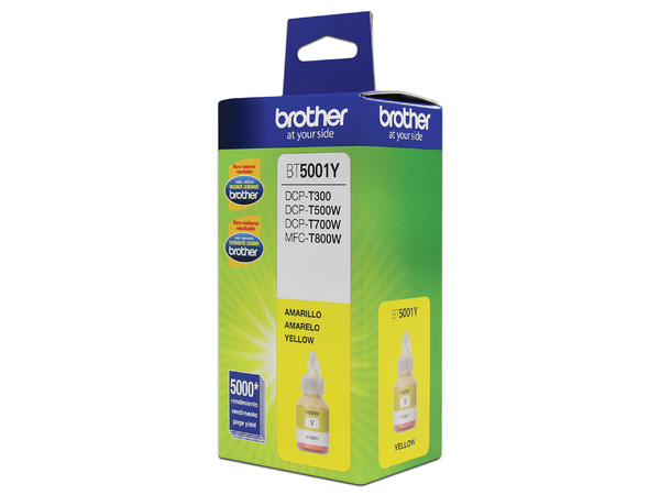 Botella de Tinta Brother, Color Amarillo, Modelo: BT-5001Y, Alto Rendimiento.