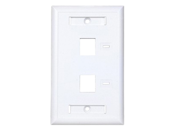 Placa de pared Condumex de 2 salidas RJ45 tipo keystone, Color Blanco.
